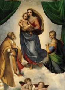 RAFAEL_-_Madonna_Sixtina_(Gemäldegalerie_Alter_Meister,_Dresden,_1513-14._Óleo_sobre_lienzo,_265_x_196_cm)